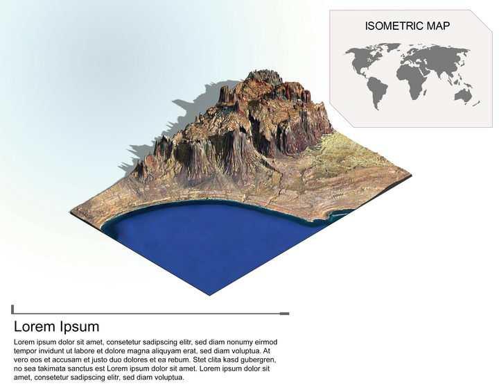 地理地质海边的高山高原地形地貌PS 3D模型图片模板