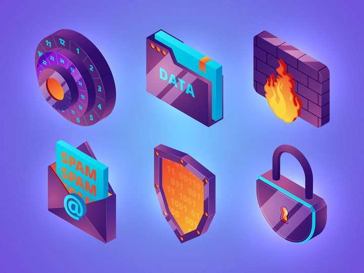 2.5D风格密码安全图标图片免抠矢量素材