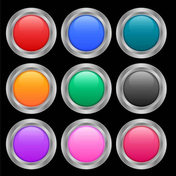9款银色金属描边风格圆形水晶按钮图片免抠矢量素材