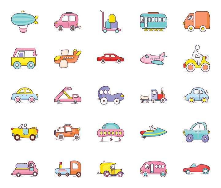 25款卡通风格飞艇汽车电车卡车飞机等交通工具icon图标图片免抠矢量素材