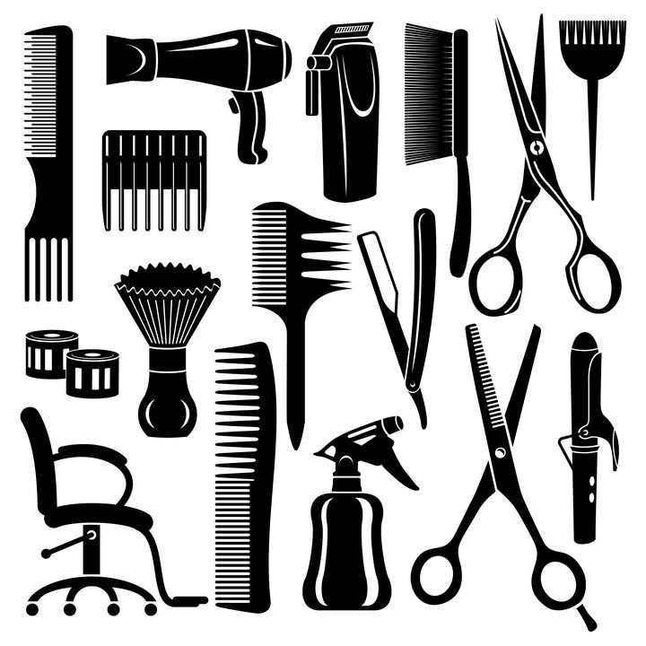 各种梳子电吹风电推子剪刀等美发师理发师用品剪影图片免抠矢量素材