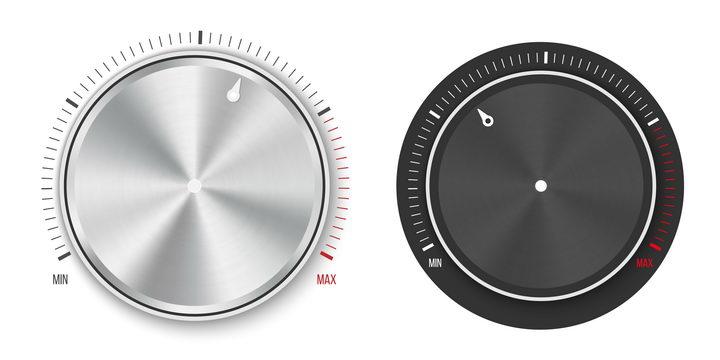 两款逼真的银色和黑色旋钮图片免抠矢量素材 IT科技-第1张