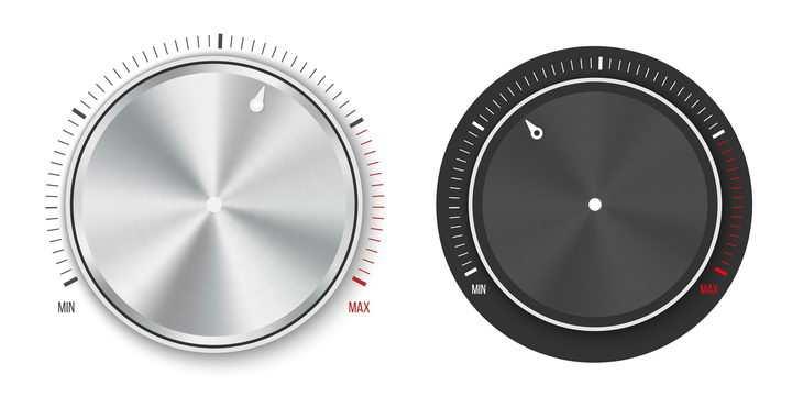 两款逼真的银色和黑色旋钮图片免抠矢量素材