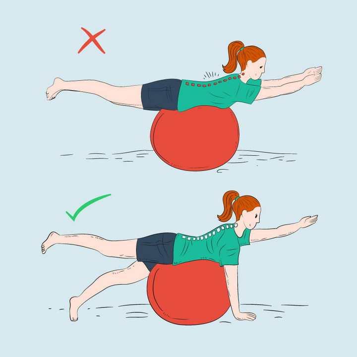 健身球的正确和错误用法示范图片免抠素材