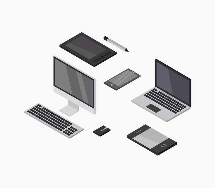 2.5D风格笔记本电脑办公桌用品免抠矢量图素材
