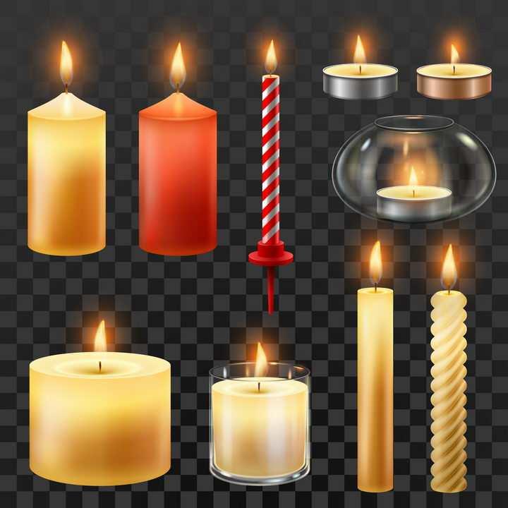 各种各样的生日蜡烛香薰蜡烛照明蜡烛图片免抠矢量素材