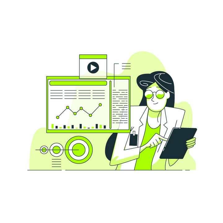 绿色扁平插画风格正在平板上浏览金融数据的商务女士职场配图图片免抠素材