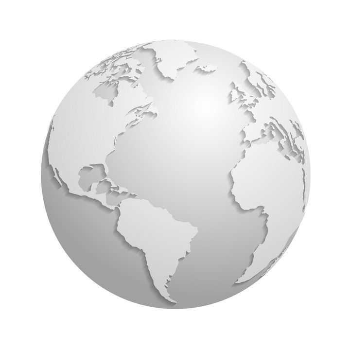灰色的立体地球和带阴影的大陆地图片免抠矢量素材