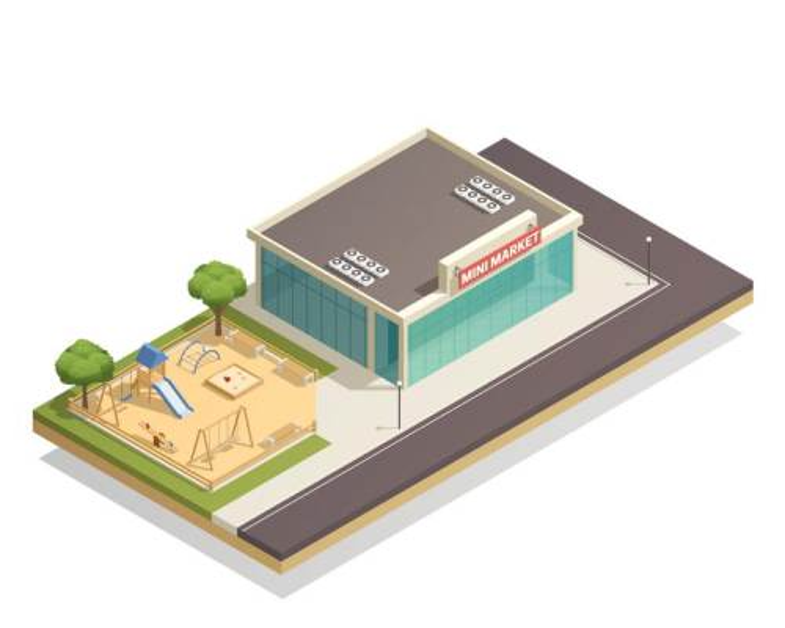 2.5D风格旁边有游乐场的小超市城市建筑图片免抠素材