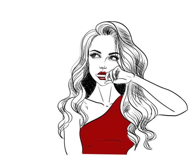 手绘素描风格身穿红色裙子咬手指的美女图片免抠矢量素材