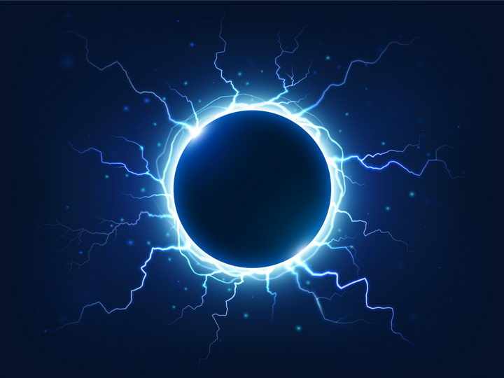 蓝色的球形闪电球状闪电图片png免抠素材 效果元素-第1张