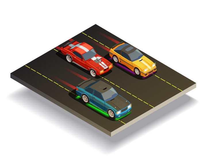 2.5D风格三辆正在不断加速的赛车汽车图片免抠素材