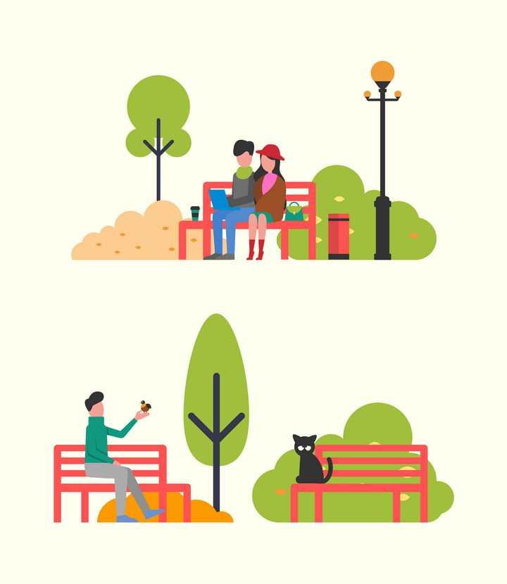 扁平插画风格公园长椅上坐着的情侣单身人士和一只黑猫图片免抠矢量素材