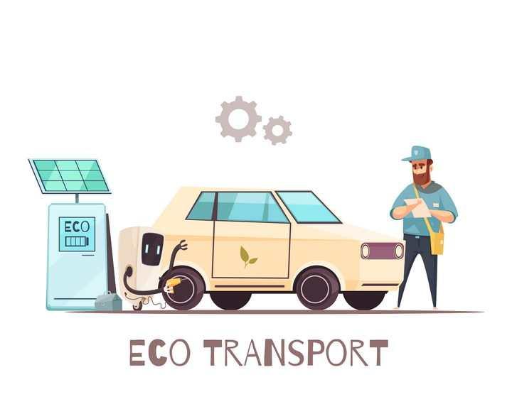 正在用充电桩给电动汽车充电的卡通年轻人图片免抠矢量素材