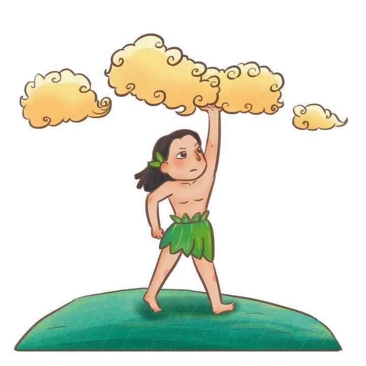 盘古开天辟地中国传统神话人物传说故事手绘彩色插图图片免抠png素材