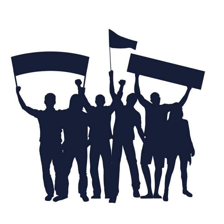 高举旗帜和横幅的抗议游行人群剪影图片免抠矢量素材