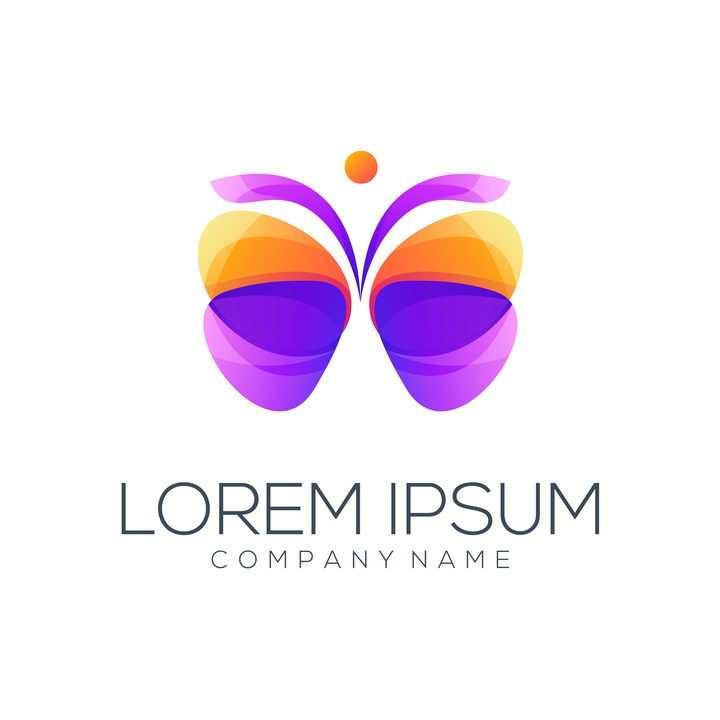 紫色橙色蝴蝶logo设计方案图片免抠矢量图素材