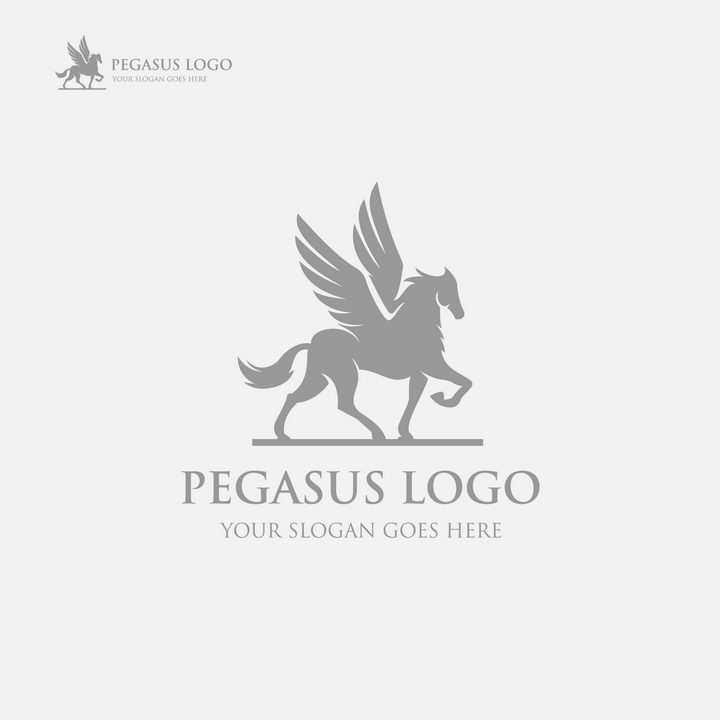 灰色飞马logo设计方案图片免抠矢量素材
