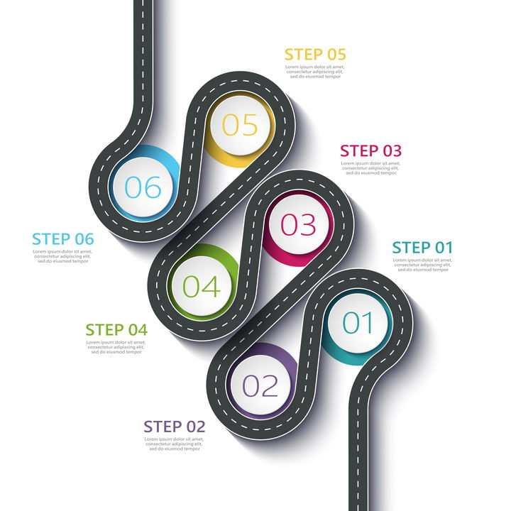 复杂弯曲公路道路步骤图流程图时间轴图片免抠矢量图