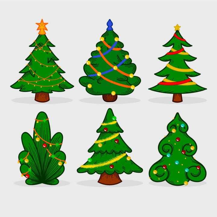 6款手绘风格绿色的圣诞节圣诞树图片免抠矢量素材