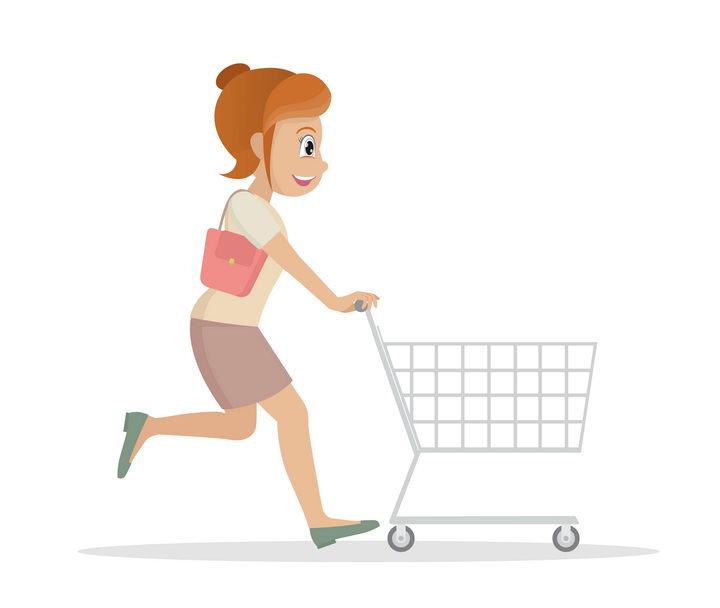 推着购物车的卡通美女图片免抠素材 人物素材-第1张