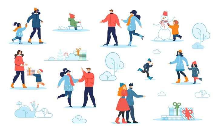 各种冬天溜冰滑雪堆雪人等活动图片免抠矢量素材