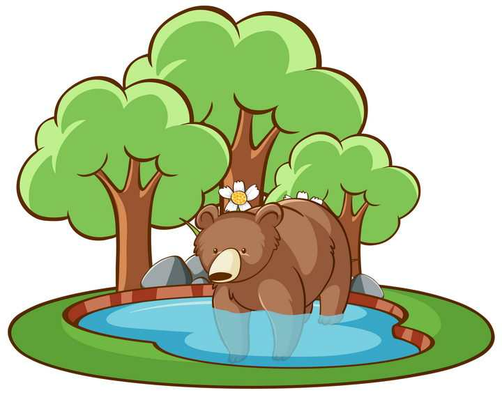 卡通池塘里的棕熊和大树儿童画图片免抠矢量素材
