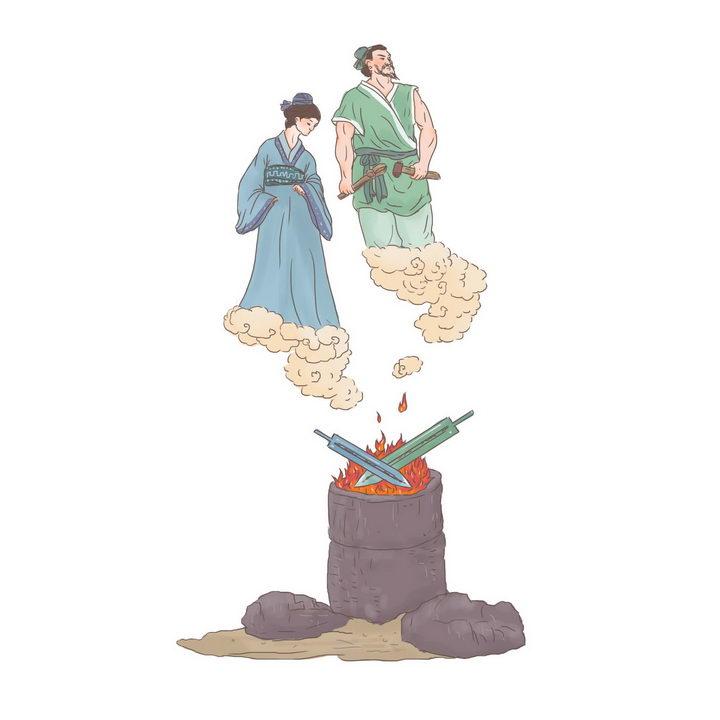 干将莫邪中国传统神话人物传说故事手绘彩色插图图片免抠png素材 教育文化-第1张