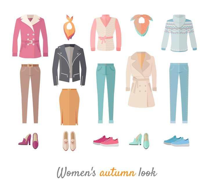 扁平化风格女性上衣外套牛仔裤裤子和鞋子等服装图片免抠矢量素材