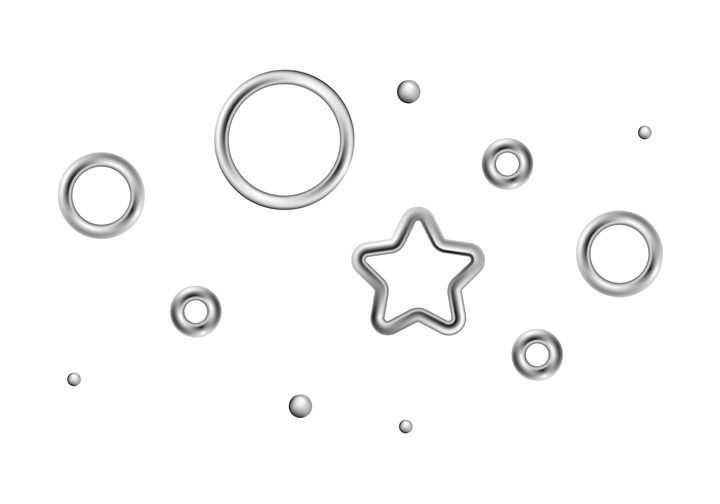 银色金属圆环和金属五角星环形状图片免抠矢量图素材