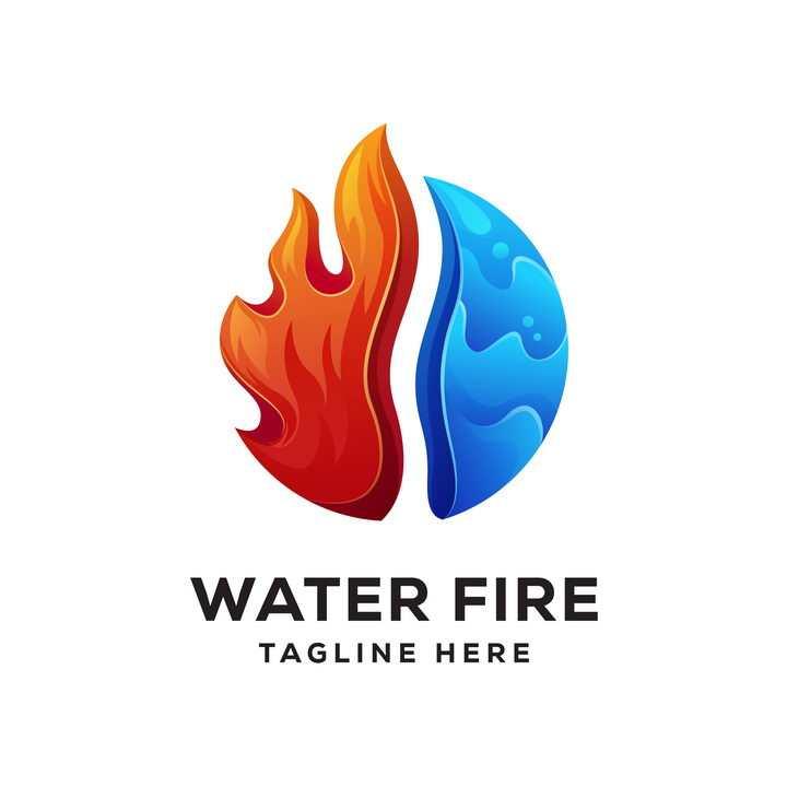 卡通风格一半火焰一半水logo设计方案图片免抠素材