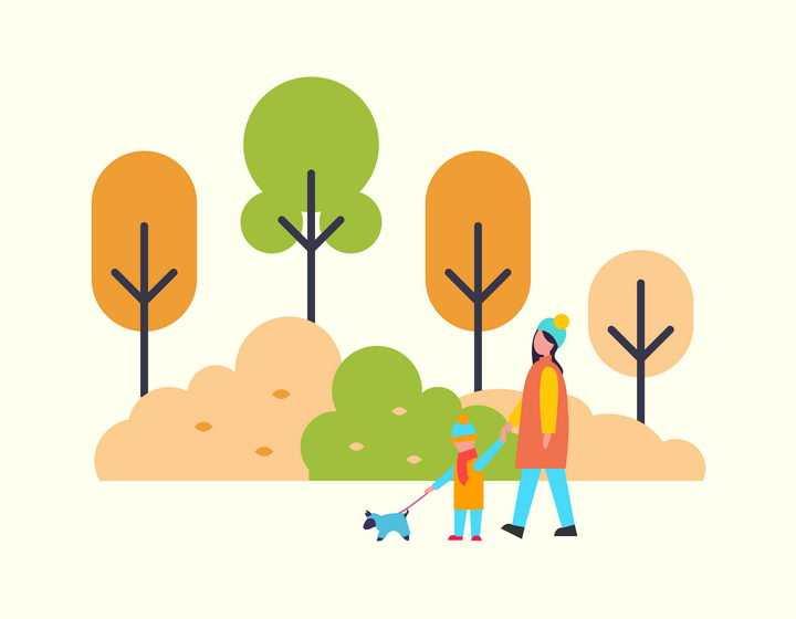 扁平插画风格正在公园里遛狗的母女图片免抠矢量素材