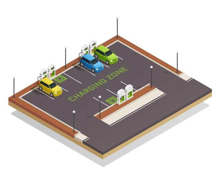 2.5D风格绿色新能源充电汽车停车场图片免抠素材
