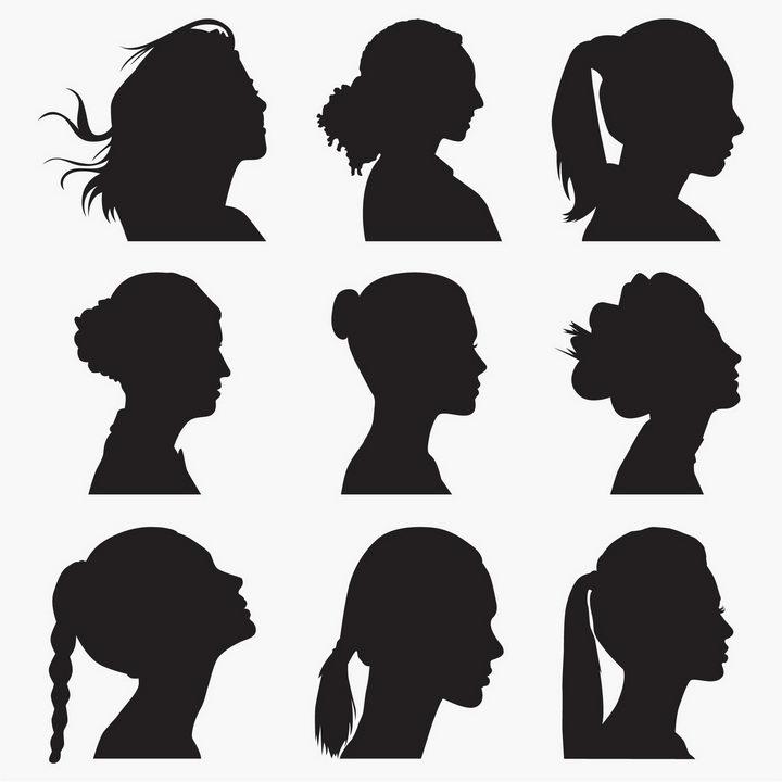 9款女性发型脸部侧面剪影图片免抠矢量素材