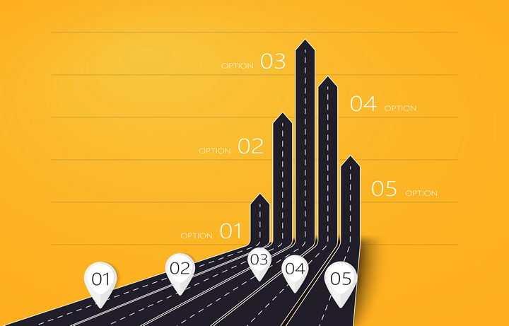 创意黑色公路道路折弯向上的箭头图片免抠矢量图