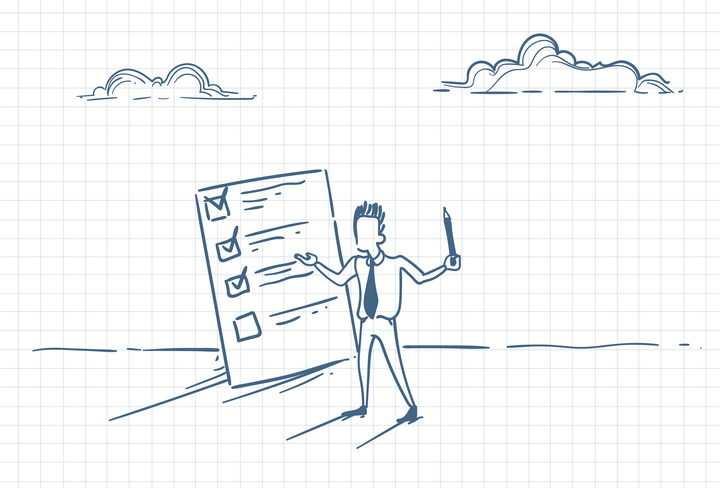 圆珠笔画涂鸦风格正在制定计划和日程安排的商务人士职场人际交往配图图片免抠矢量素材