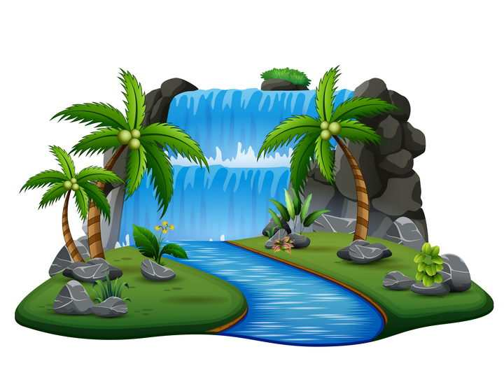 漫画风格瀑布河流和树林风景图片免抠矢量素材