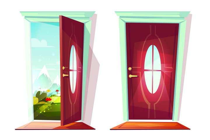 卡通红色大门外的风景图片免抠矢量素材