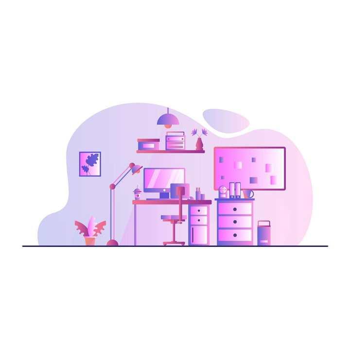 扁平插画风格粉色办公室电脑图片免抠矢量素材