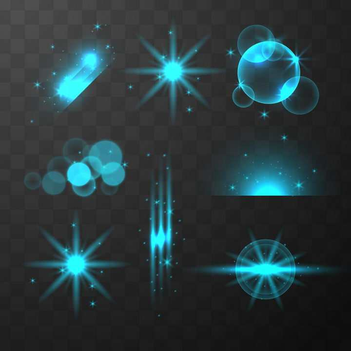 8款蓝色光线光晕光芒效果图片免抠矢量图素材
