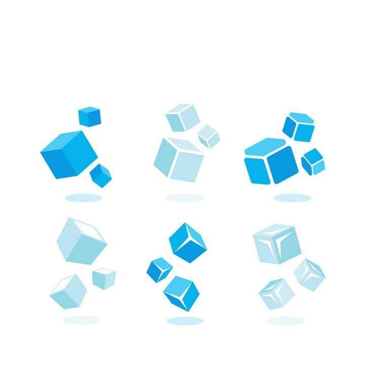 6款蓝色立方体立方块图案图片免抠矢量素材