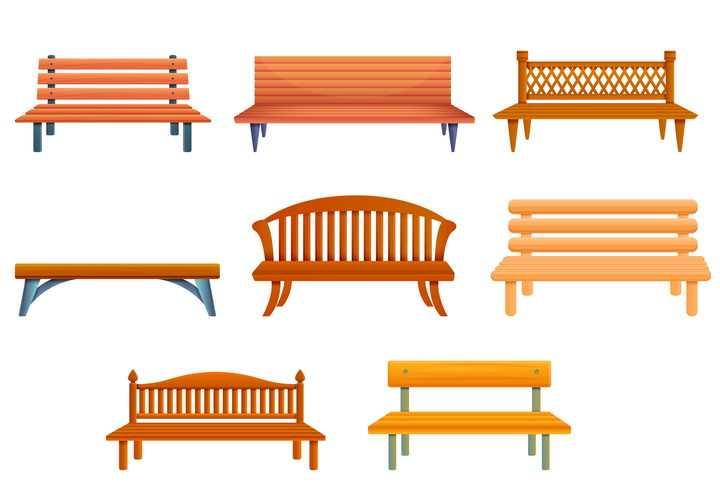 8款不同造型的公园长椅图片免抠矢量图素材