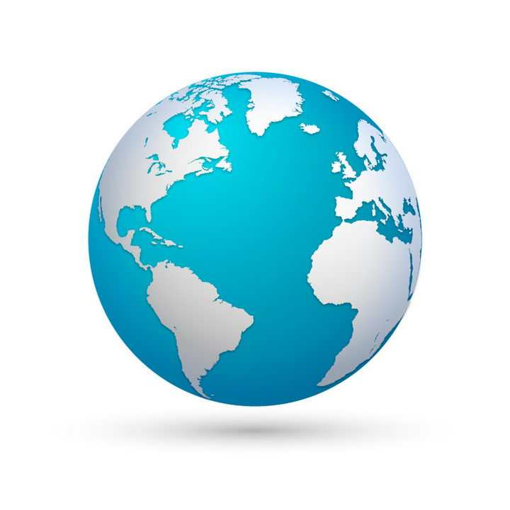 蔚蓝色的地球和银灰色的大陆不错的世界地图图片免抠矢量素材