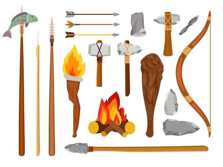 各种原始人用的石斧弓箭等武器图片免抠矢量素材