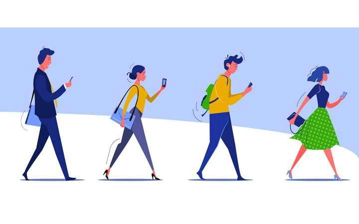 扁平插画风格拿着手机边走边玩手机的低头族图片免抠矢量素材