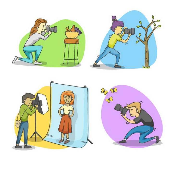 4款正在用照相机拍照的卡通小人图片免抠矢量图素材