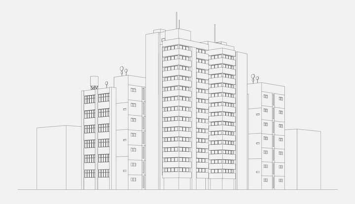 简约手绘线条风格城市建筑图片免抠矢量图素材