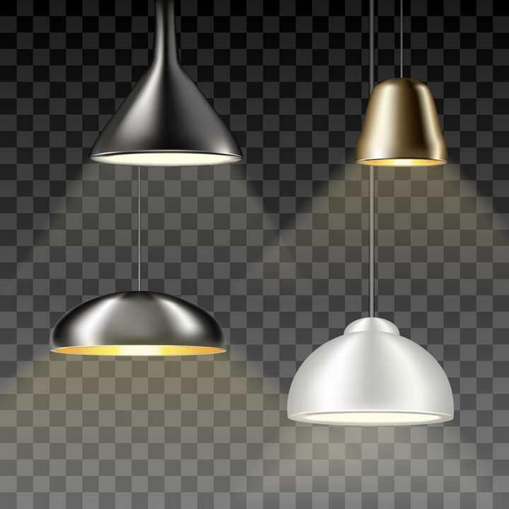 4款吊灯电灯图片免抠矢量素材