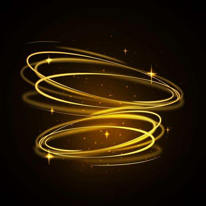 金色发光光圈动感光线炫光效果图片免抠矢量图素材