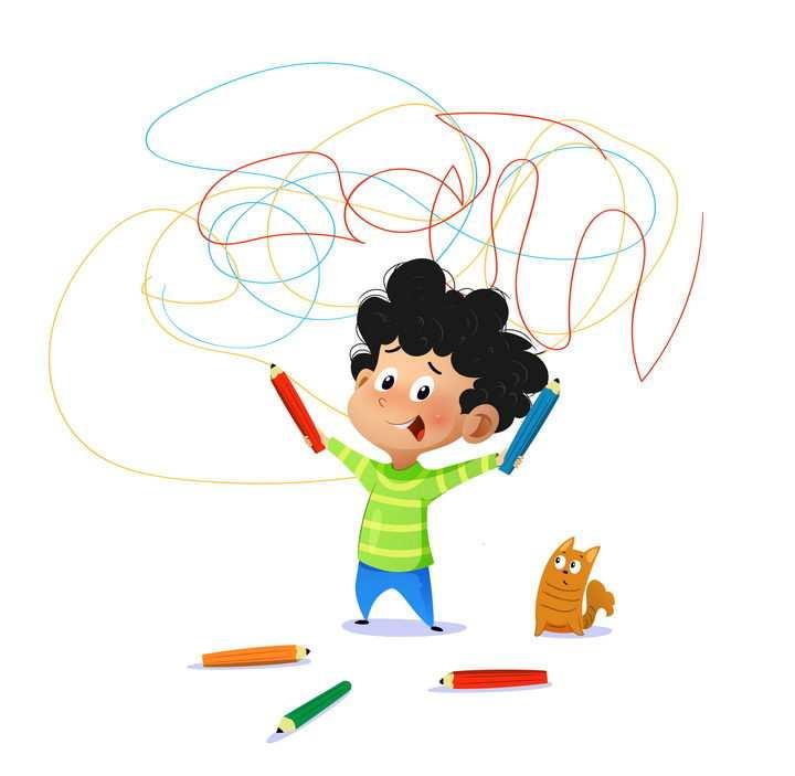 拿着画笔到处乱画涂鸦的卡通调皮小朋友图片免抠素材